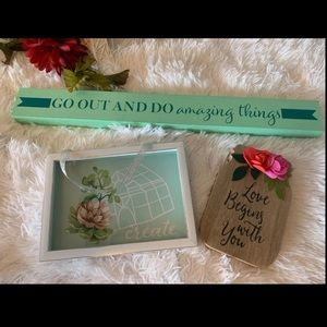 CHiC wooden home decor frame &phrased 2 signs 3PCs